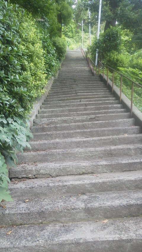 きつい階段を上がって…